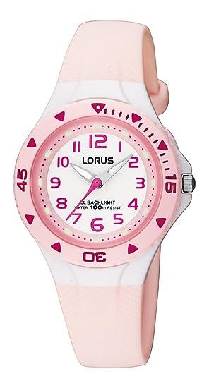 Lorus RRX49CX9 - Reloj analógico infantil de cuarzo con correa de plástico rosa (luz) - sumergible a 100 metros: Amazon.es: Relojes