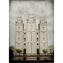 LDS (Mormon) Temple Print (Print Only - 18 x 24, Salt Lake Colorized)