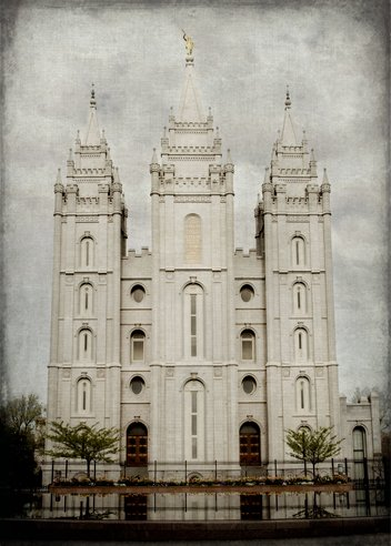 Shaped Expressions Latter Day Saint (LDS) - Salt Lake Colorized 18x24 Temple Print (Print Only) (Pictures Temple Lds)