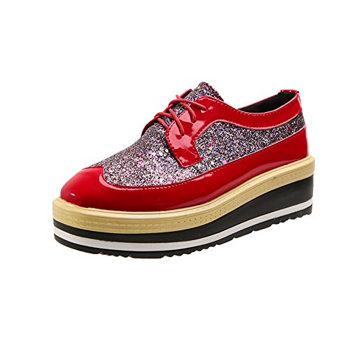 CYBLING Womens Sequins Platform Square-Toe Casual height Increasing Lace-Up Oxford Shoes Red 9ah4UVFtvQ