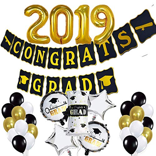 LEWOTE Graduation Party Decoration Supplies 2019[45 Pcs] 2019 Graduation Balloons Banner Set[Include 2019 Large Balloons/Congrats Grad Banner/Latex Balloons/Pattern Foil Balloon]