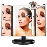 10x3x2x LED Makeup Mirror inkerscoop Tri-Fold 24 LED Light with 10 X / 3 X / 2 X / 1 X Magnifying Makeup Mirror 180 ° Adjustable Stand Smart Touch Screen Adjustable Brightness lighted For Makeup
