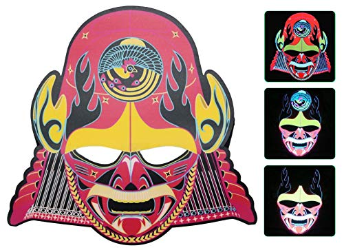 MuraK Light up Mask Sound Activated [ LED Cosplay Masks/Halloween, Christmas, Festival, Party/Flash to Music ] (Armoured Warrior) ()