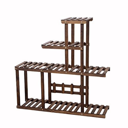Multi - layer potted plants display stand wooden plant flower stand balcony living room Indoor Flower Stand ( Color : Brown ) by GFL