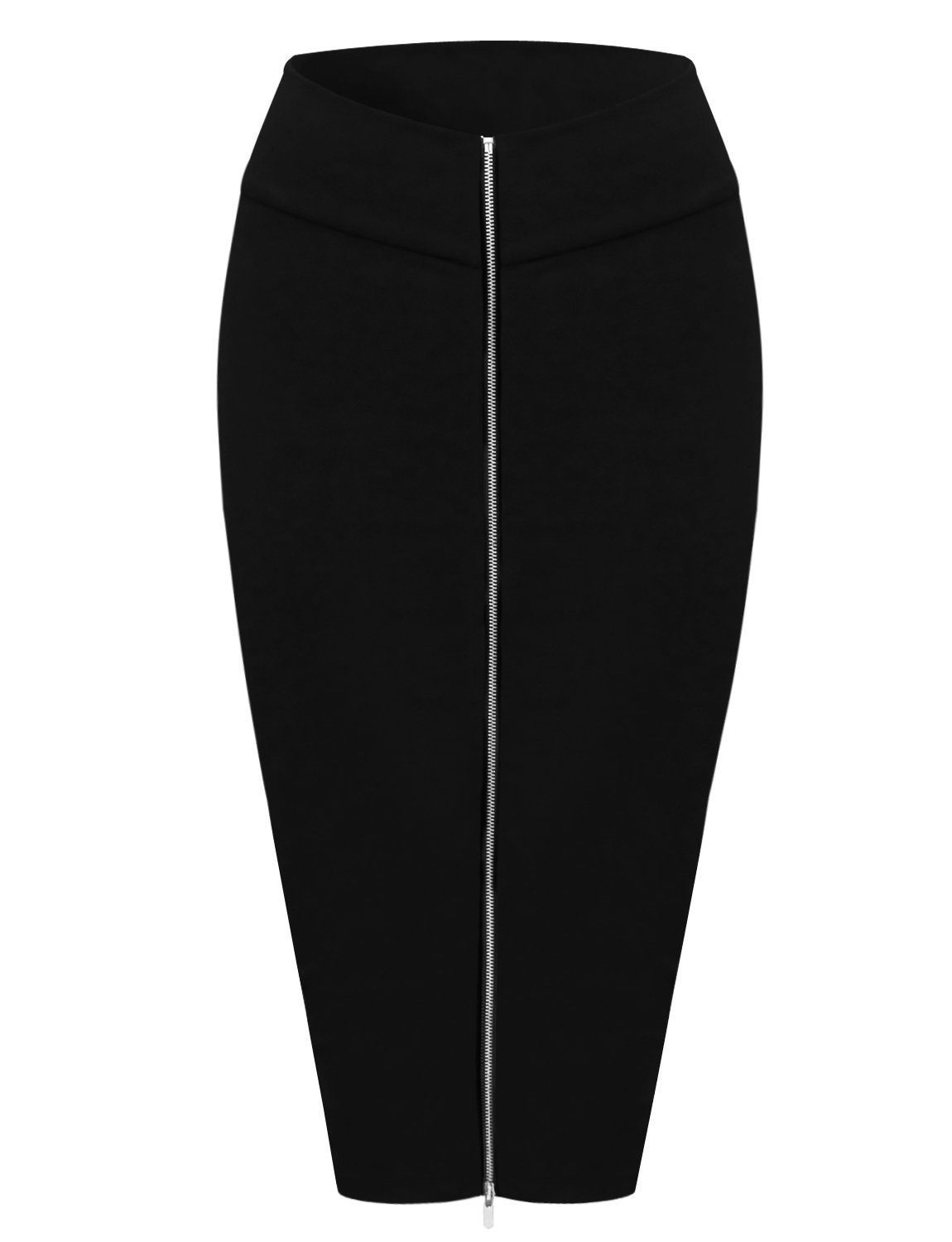 Tom's Ware Womens Stylish Exposed Front Zip Stretchy Pencil Skirt TWCWD129-BLACK-US M