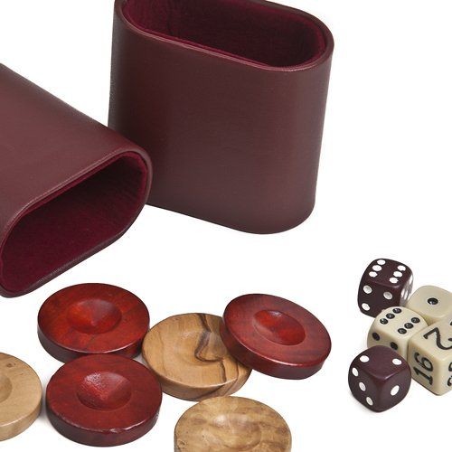 """Nikkos Jr., Deluxe Olive Wood Backgammon Checkers from Greece , Dice & Two Dice Cups -Red/Natural Wood 1"""""""