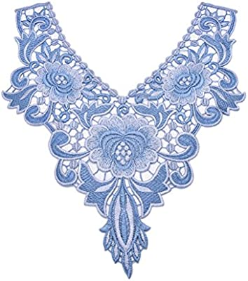 1 Pcs Embroidered Floral Lace Neckline Patches Neck Collar Trim Clothes Sewing Applique by Sdetter