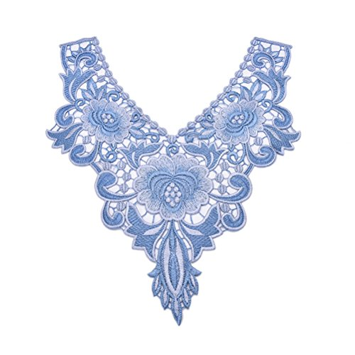 Embroidered Floral Lace Neckline Neck Collar Trim Patch Clothes Sewing Decoration Applique,13.38 x 12.2inch