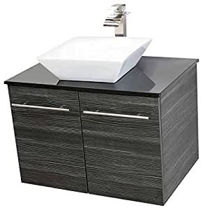 windbay 24 wall mount floating bathroom vanity sink set vanities sink dark grey. Black Bedroom Furniture Sets. Home Design Ideas