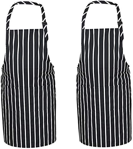 table Kitchen Apron - Durable Fabric Water Drop Resistant Professional Chef Aprons Extra Long Ties Men & Women Cooking Aprons Baking, Grilling Bar BQ ()