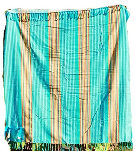 (La Plage Oversized Turkish 100% Cotton Fringed Beach Throw Strap Roll-Up Picnic Blanket Extra Large Outdoor Blanket Camping Gift (Aqua))