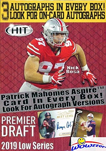 Autograph Card (2019 Sage Hit Football Factory Sealed Retail Box with THREE(3) AUTOGRAPHS, 70 Cards & EXCLUSIVE PATRICK MAHOMES Card! Look for Rookies & Autos of Dwayne Haskins,Daniel Jones,Drew Lock & More! WOWZZER)