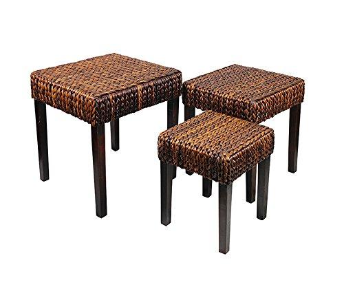 Decoración esencial Entrada Collection hoja de bambú 3 piezas Juego de café mesa, 24 x 50,8 cm x 50,8 cm