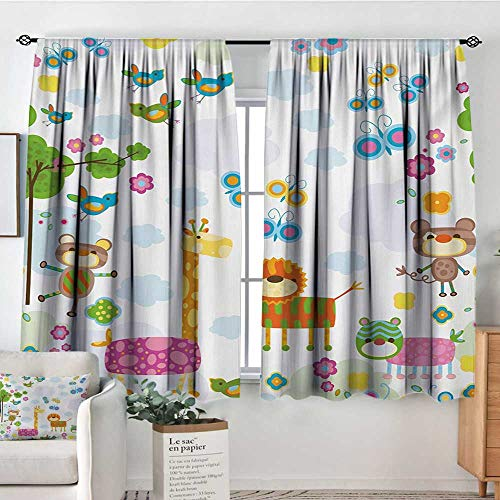 Nursery Custom Curtains Floral Background with Funny and Cute Animals Giraffe Lion Monkeys and Butterflies Patterned Drape for Glass Door 63