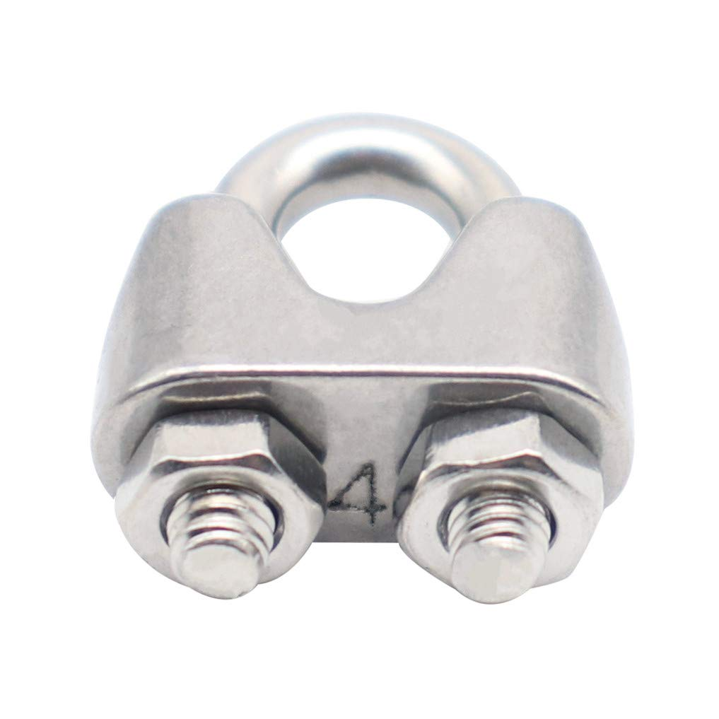 CCTVMTST 20Pcs 3//16 M4 4mm Stainless Steel 304 Wire Rope Cable Clip Clamp