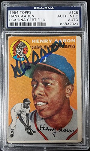 Hank Aaron Signed 1954 Topps #128 RC Rookie Card Autograp...