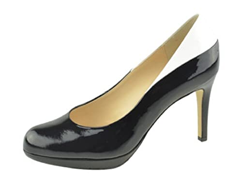 Hogl Women's 9 108014 High Heel Closed Pump Court Shoes in Black & White Patent Leather HO 14