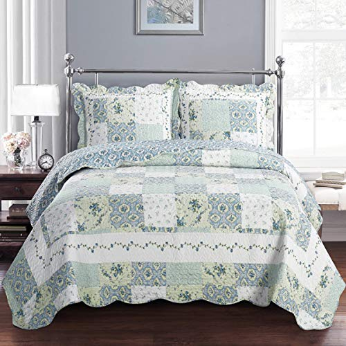 Deluxe Brea Oversized Bedspread Set. Beautiful Quilt Decorated with Patches of Various Floral Design Creates The Relaxing ambiance of a Resort in Your Bedroom. Bed Cover Quilt 3 Piece Full/Queen Set