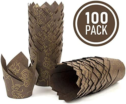 Brown Tulip Cupcake Liners Golden product image