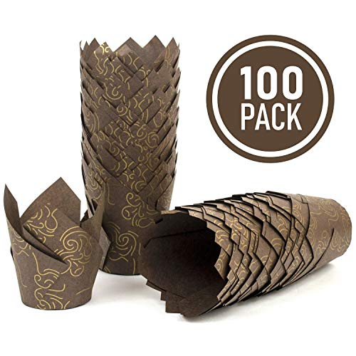 Muffin Wrappers - Brown Tulip Cupcake Liners with Golden Model - 100 Standard size of Tulip Cupcake Wrappers Made from Premium Greaseproof Paper with Golden Model - Perfect Muffin Baking Cups for Every Festive Occasion