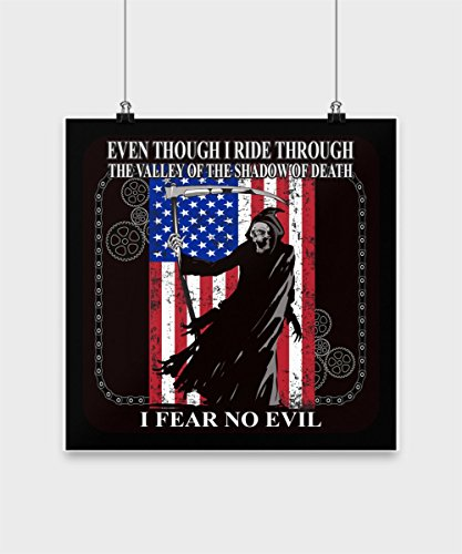 Grim Reaper USA Fear No Evil Poster - Exclusive Biker/Motorcycle Holiday Gift Design
