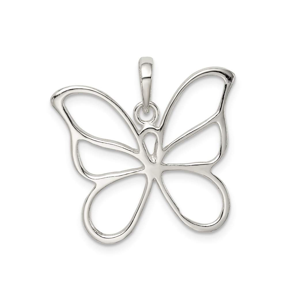 Jewelry Stores Network Butterfly Pendant in 925 Sterling Silver 23x26mm
