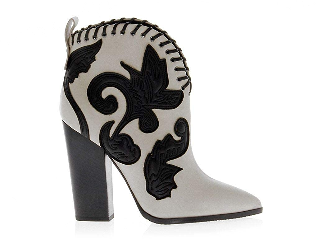 - GREYMER Women's GREY386110 White Black Leather Ankle Boots