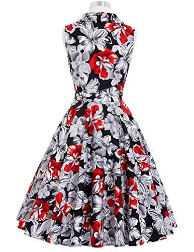 Robe sans Yafex Fleur Poque Belle Col V Manche Rtro Rockabilly 3 Audrey Vintage Femme SqvIgqxrw