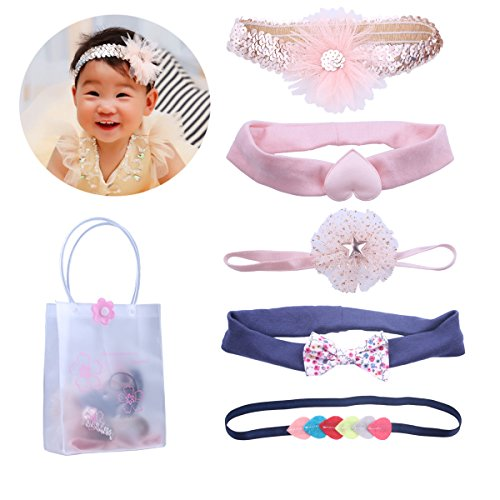 KimmyKu Toddler Baby Infant Headbands Hair Bows Hair Band Accessories For Kids Girls (Pink Heart Socks White)