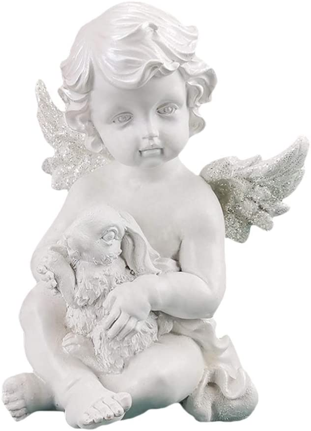 BESPORTBLE Rabbit Angel Statue Cherub Wings Angel Statue Figurine Angel Sculpture Statuette Shelf Sitter Collection Angel Wings Memorial Rememberance Statue
