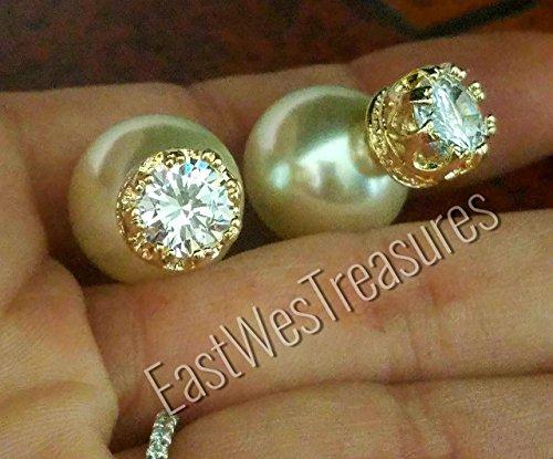 EWT Jumbo chunky Gold double pearl , front back, Pearl ball back silver CZ Ear stud earrings/ Pearl stud earrings/ Pearl ear jacket earrings