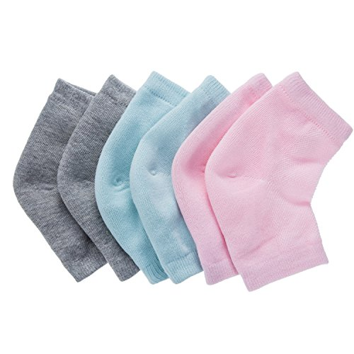 Bememo Soft Ventilate Gel Heel Socks Open Toe Socks for Dry Hard Cracked Skin Moisturizing Day Night Care Skin, 3 Pairs (Pink, Turquoise, Grey)