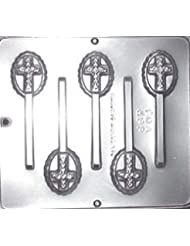 Cross on Oval Lollipop Chocolate Candy Mold Religious 405