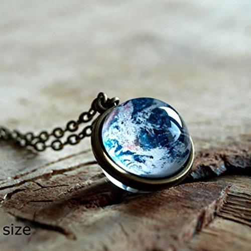 地球のネックレス、ペンダントネックレス地球惑星、地球、太陽系宇宙の宝石のネックレス、ネックレス、ガラスのドームは、世界のネックレス