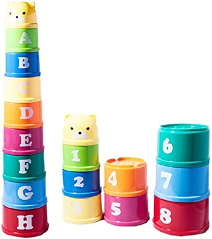9pcs Stacking Cups Toy Bathtub Toys Nesting Cups Baby Building Set for Kids Baby