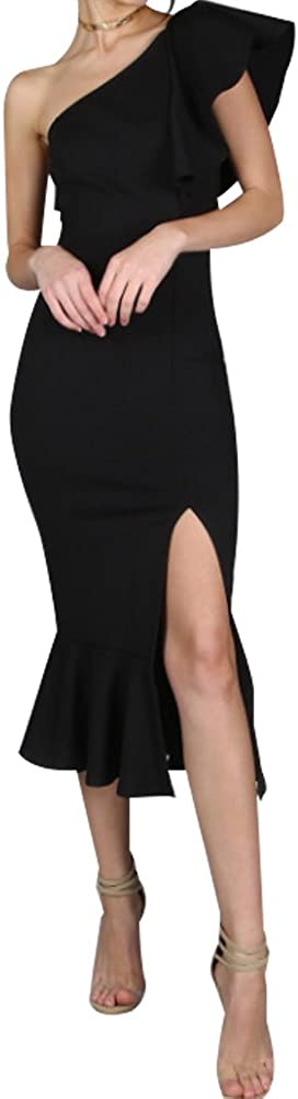 FANTIGO Vestiti Donna Eleganti Abito Estive Vestito Unita Monospalla Maniche Spacco Vintage Abiti Maxi Festa Vestitini Sera Ladies
