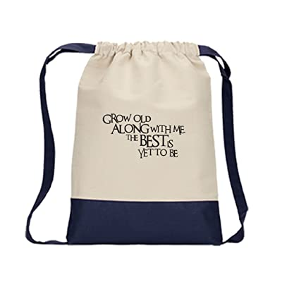 chic Drawstring Bag Canvas Grow Old Alonge With Me The Best Yet To Be Style  In 3820a6632dda0