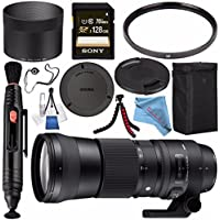 Sigma 150-600mm f/5-6.3 DG OS HSM Contemporary Lens for Canon EF #745101 + Sony 128GB SDXC Card + Lens Pen Cleaner + Fibercloth + Lens Capkeeper + Deluxe Cleaning Kit + Flexible Tripod Bundle