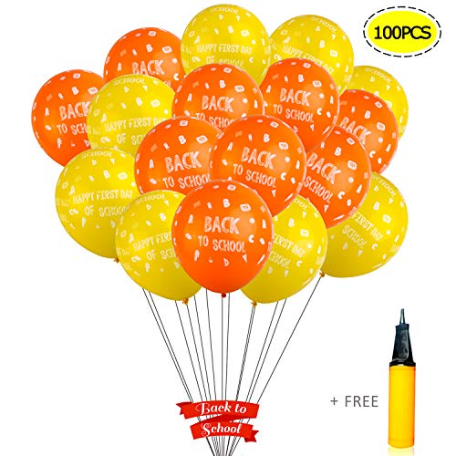 WANTU Back - to - School Decorations - 100 PCS 12 Inches Latex Back to School Balloons with a Hand Air Pump for Classroom Decor, Back to School Decor -