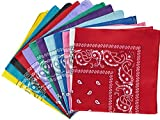 NJ Novelty - Dozen Cowboy Paisely Bandanas Assorted Colors, Head Wrap Scarf bandana, 100% Cotton