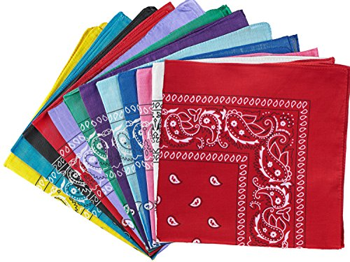 NJ Novelty - Dozen Cowboy Paisely Bandanas Assorted Colors, Head Wrap Scarf bandana -