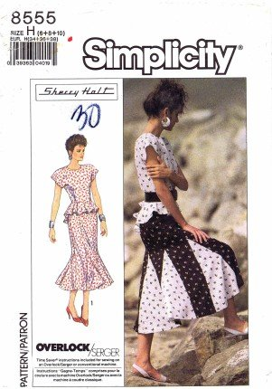 (Simplicity 8555 Sewing Pattern Sherry Holt Peplum Dress Top Skirt Size 6 - 10 - Bust 30 1/2 - 32 1/2)