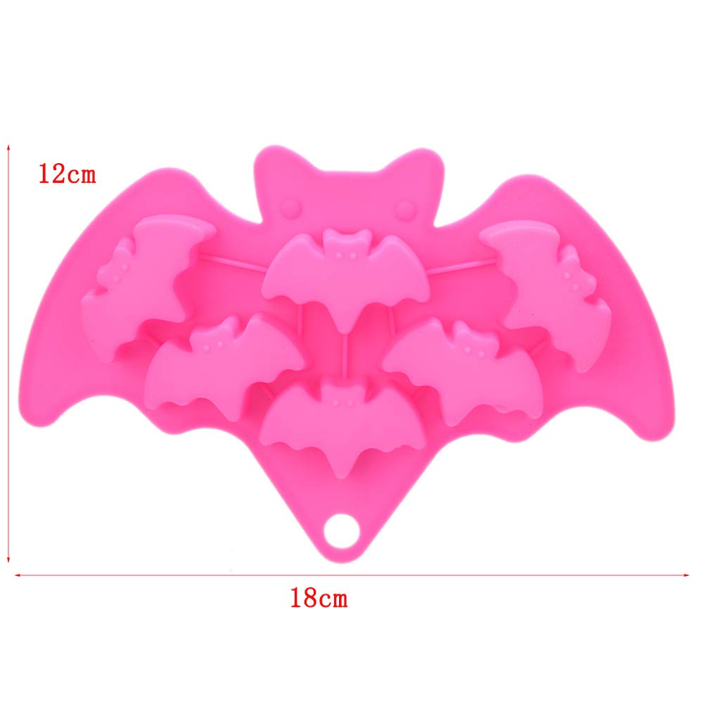 Skull Bat Ghost Bat Ice Cube Tray Halloween Chocolate Mould Silicone Fondant Moulds for Cake Decorating Cupcake Decor Soap Baking Mold Sugarcraft DIY Pack of 3