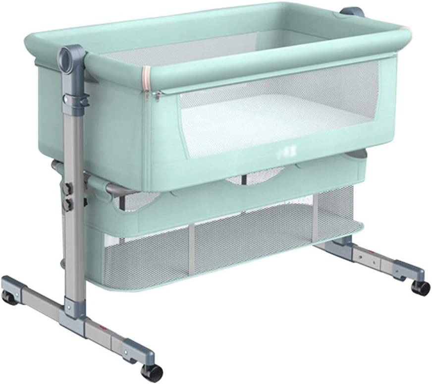 Folding Cradle Bed Queen Size Bed Portable Childrens Shaker Cradle Crib Color : Green, Size : with Travel bagm