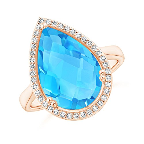 (Pear-Shaped Swiss Blue Topaz Cocktail Ring with Diamond Halo in 14K Rose Gold (15x10mm Swiss Blue Topaz))