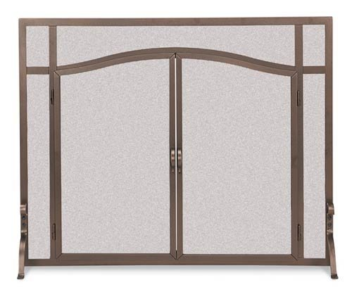 Image of Flat Bronze Finish Fireplace Screen w Feet & Doors (39 in. Width)