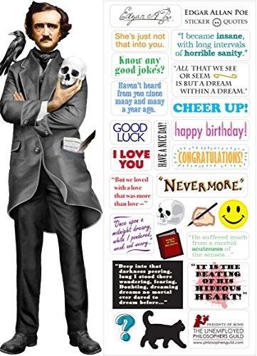 Edgar Allan Poe Quotable Notable - Die Cut Silhouette Greeting Card and Sticker Sheet
