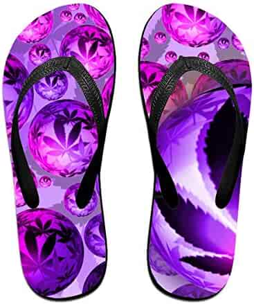e09602a26165f Couple Slipper Leaf Balls Purple Print Flip Flops Unisex Chic Sandals  Rubber Non-Slip House