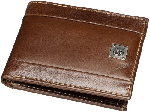 Nautica Men's Leather Passcase Bifold Wallet,Brown,