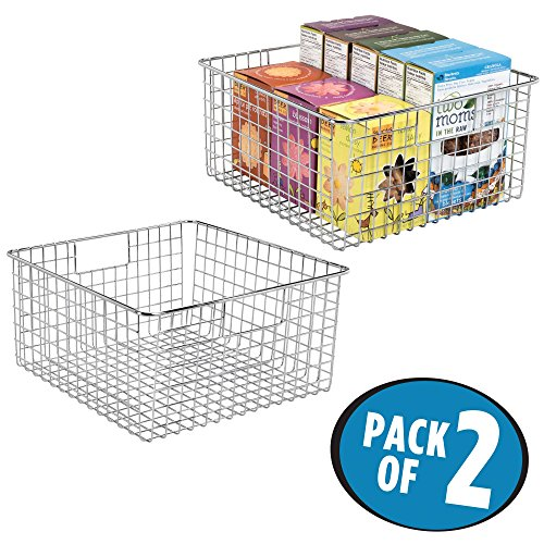 mDesign Household Wire Storage Organizer Bin Basket with Built-In Handles for Kitchen Cabinets, Pantry, Closets, Bedrooms, Bathrooms – 12